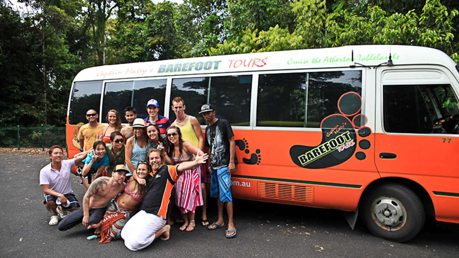group with mini bus