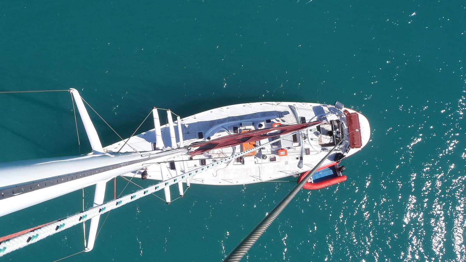 Aerial shot of boat