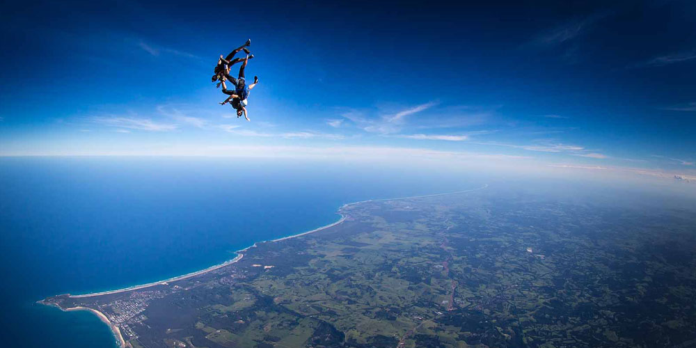 skydiving over the ocean