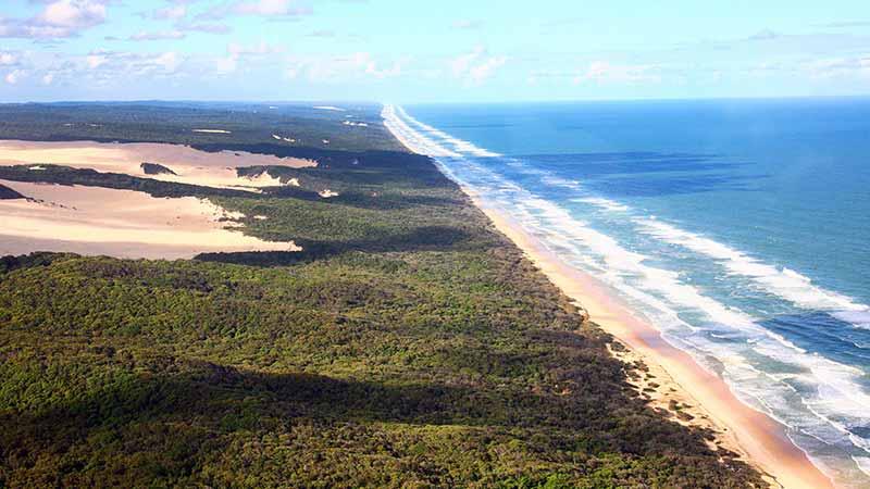 ariel view of 75 mile beach