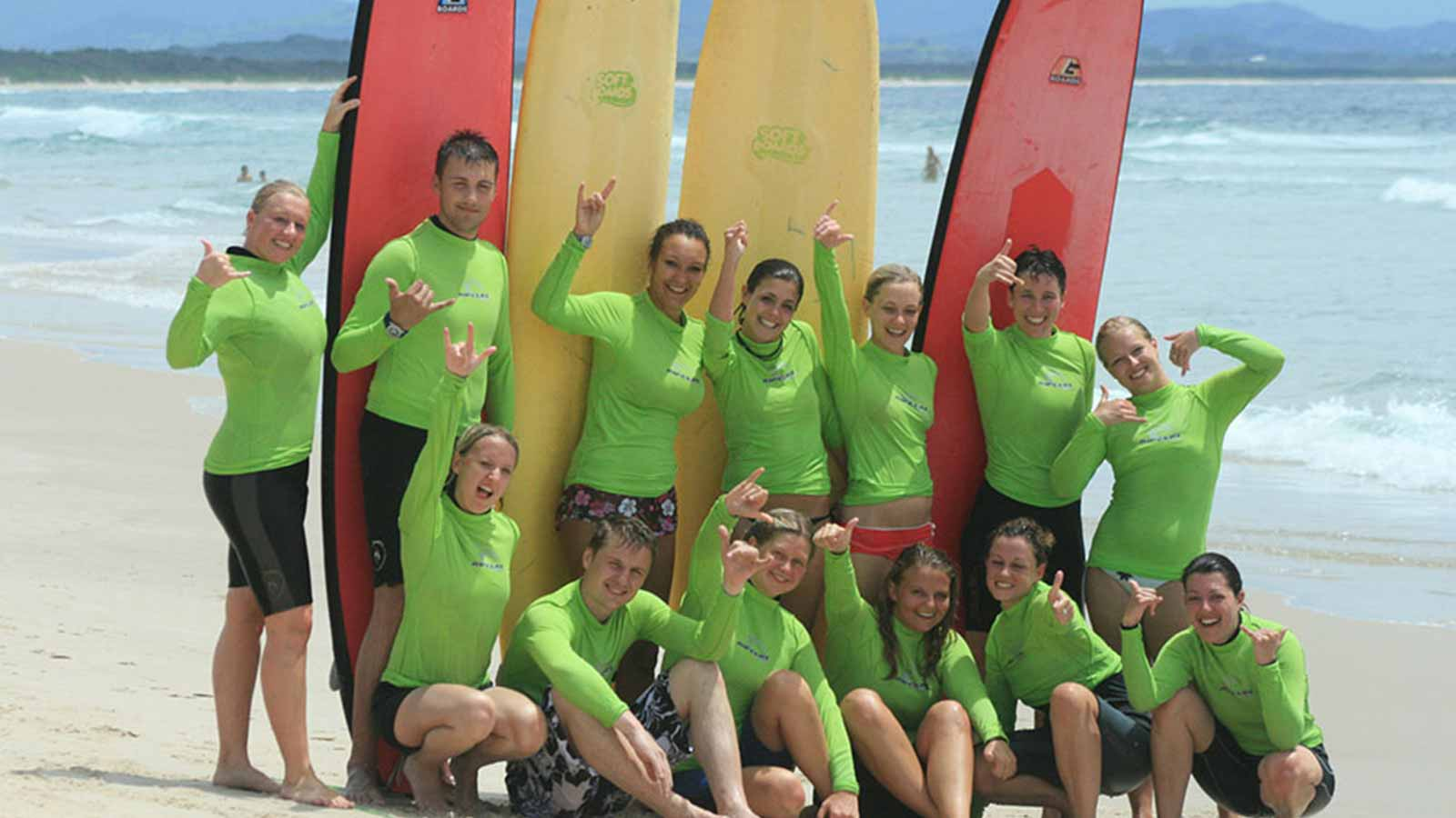 After surfing group shot