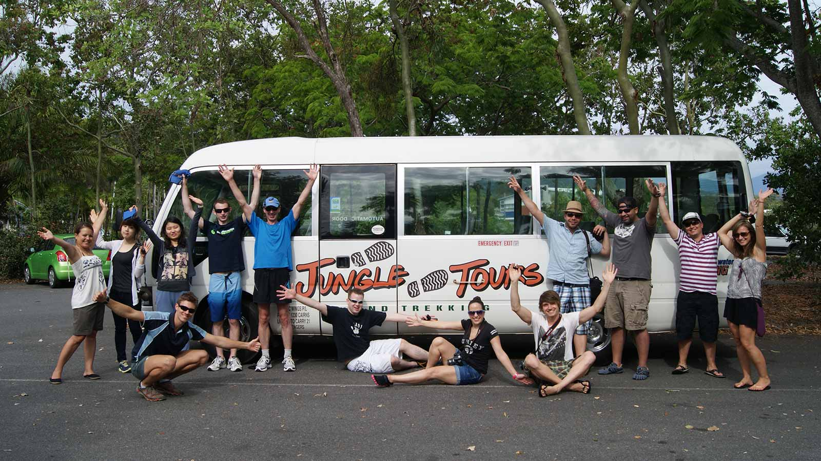 Tour group with the tour bus