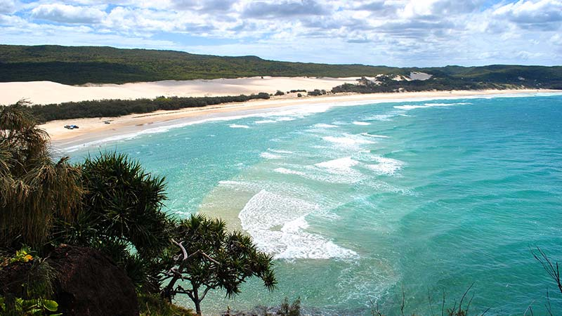 aerial shot of Fraser Island ocean side