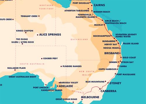 Australia Map Cairns.Travel Passes Details Greyhound Australia