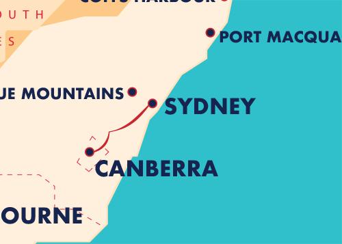 Sydney Canberra map